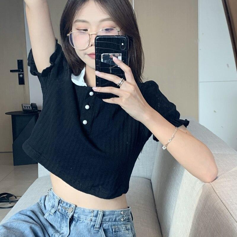 Short-Sleeved Polo Tee Shirt Femme Thin Summer Black White Women Tshirt Vintage Tops Korean Clothes