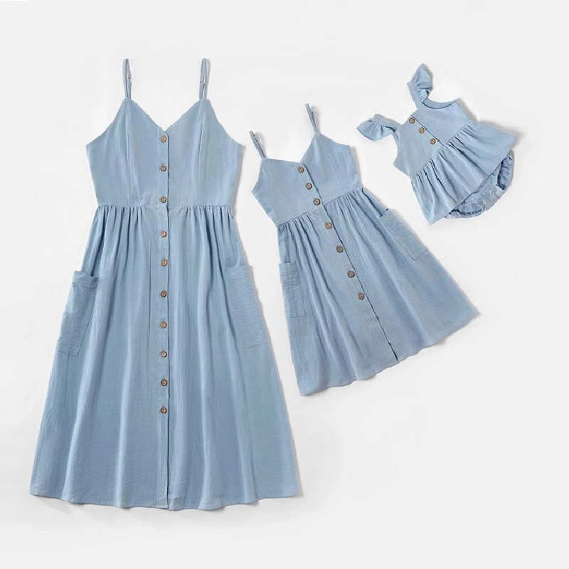 Tank Mother Daughter Dress Family Matching Clothes Look Mom Baby Mommy and Me Dresses Clothes Woman & Kid Girls Toddlers Outfits