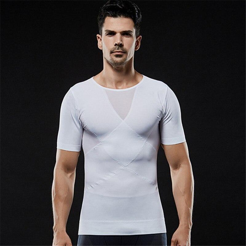 Moldeador de compresión de pecho para hombre Gynecomastia y recortador de barriga camisetas adelgazantes corsé moldeador de cuerpo