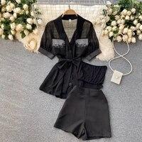 women short sleeve solid button up bow tie rivet blazer top and pocket short set elegant office ladies suits women workwear new