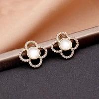 new popular design 14k real gold opal flowers earrings for women girl jewelry s925 silver needle shiny aaa zircon stud fine gift