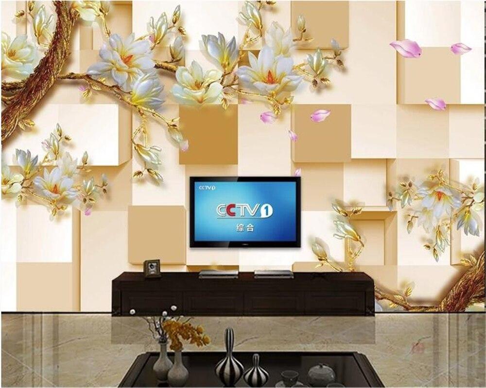 Papel pintado de beibehang 3D Cubo de fondo de pared de moda color tallado orquídea sala de estar de fondo Pared de papel mural Decoración