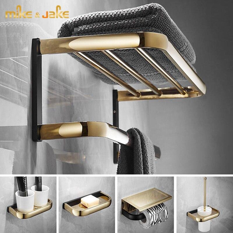 Estante de baño de latón, toallero de pared negro dorado, toallero de latón, toallero de baño, cesta nórdica triangular, juego de herramientas para cepillos de baño