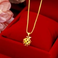 fashion pure 14k yellow gold necklace chain jewelry for women wedding engagement pendant necklaces hollow gold jewelry gifts