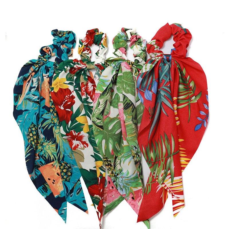 Bohe Floral Print Scrunchie Elastic Hair Band For Women Hair Accessory Hair Scrunchies Hair Scarf Bows Rubber Ropes Hair Ties