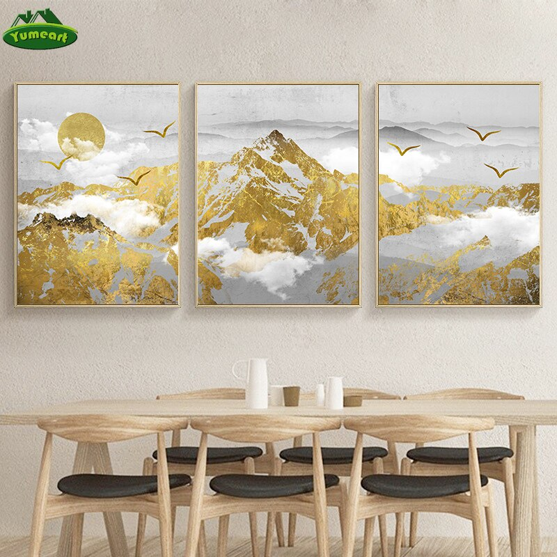 Moderno paisaje Dorado de la vena de la montaña pintura de la lona pósters imprime la imagen papel tapiz decoración de pared sin marco de la sala de estar Decoración
