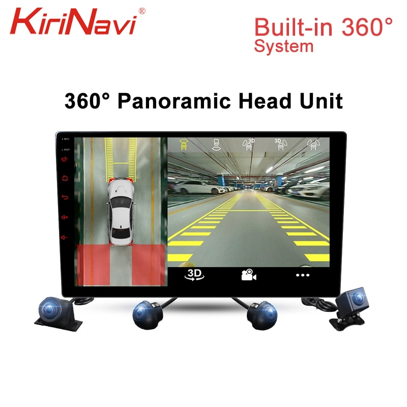 KiriNavi 360 grados Panorama Android 7,1 coche Radio Universal coche reproductor Multimedia DVR cámara delantera trasera derecha WIFI GPS