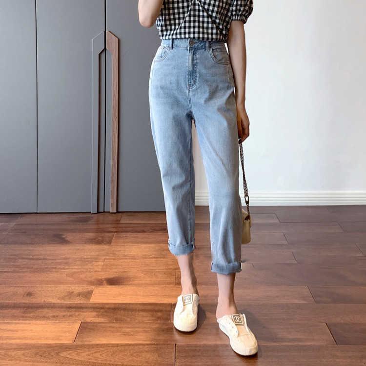 2020 الصيف السيدات أنيق القطن عالية الخصر الضوء الأزرق اقتصاص جينز غير رسمي مع جيوب وسحاب