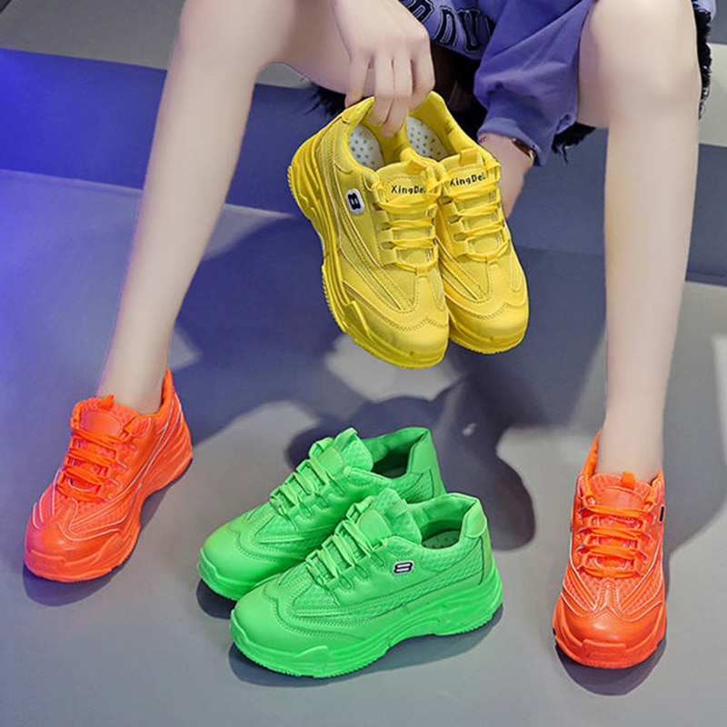 Zapatos deportivos de plataforma para mujer, de malla transpirable, fluorescente, verde y amarillo, para estudiantes y mujeres, zapatos de baile de Hip Hop, novedad 2020