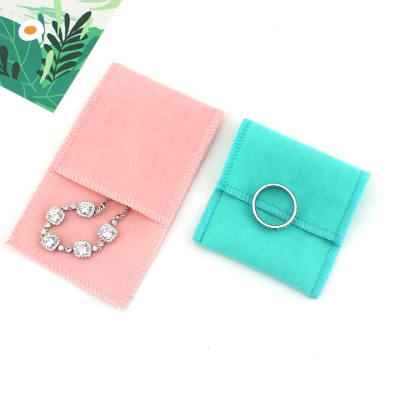 Bolso de la joyería de la franela de doble cara bolsa de la joyería del terciopelo del ante de la tela de la solapa del Color del caramelo
