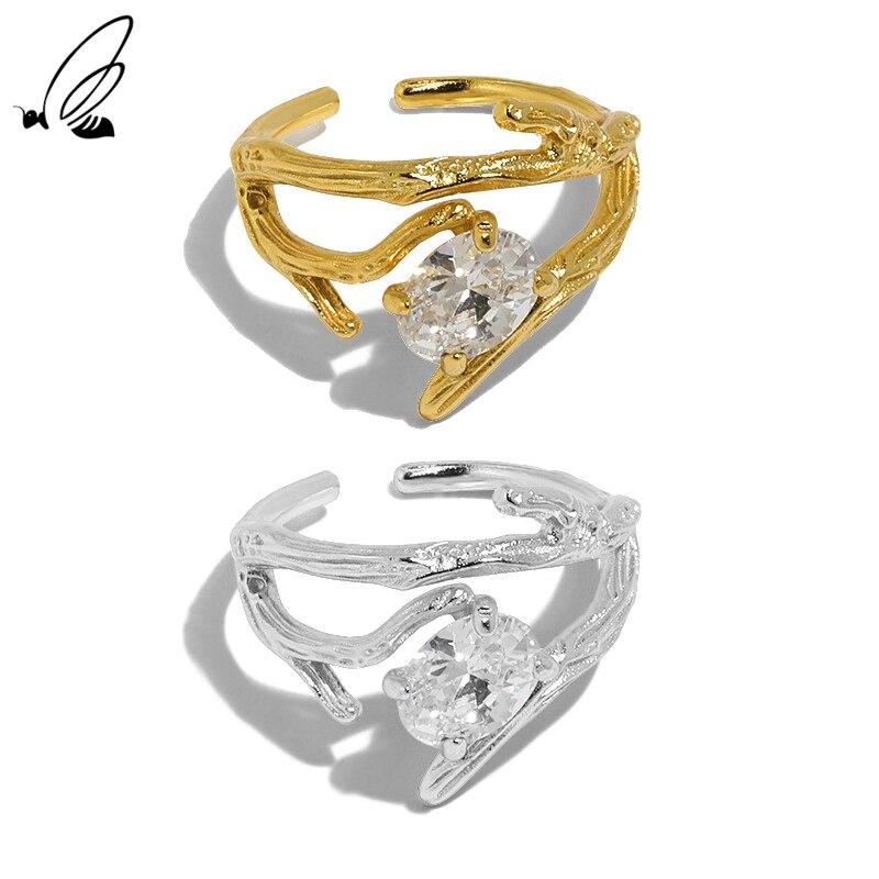 S'STEEL Rattan Branch Design Zircon 925 Sterling Silver Opening Ring Female Rings For Women's Trendy