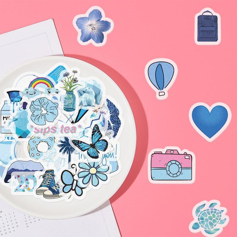 40 Uds pegatinas de dibujos animados de Vsco azul para chicas a prueba de agua creatividad decoración DIY álbum diario Scrapbooking etiquetas libro pegatinas de juguete para niños