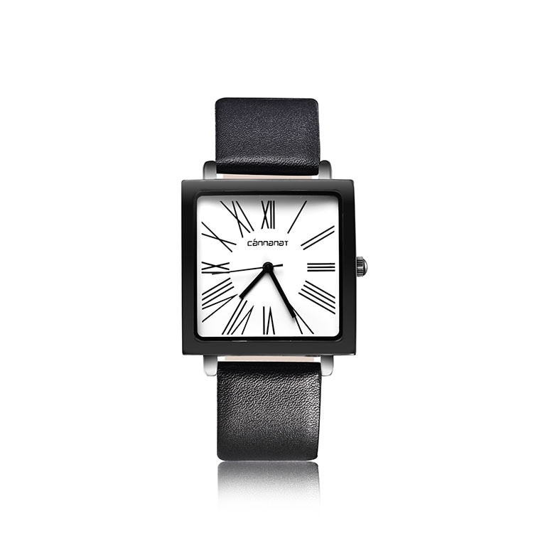 Anke Store New Ladies Square Dial Roman Scale Two Needles Waterproof Leather Strap Fashion Simple Quartz Watch for Women Luxury enlarge