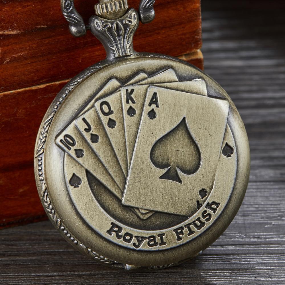 Moda Retro bronce naipes círculo cuarzo bolsillo reloj patrón Vintage colgante para hombre o mujer bonita Cadena de regalos 2019 nuevo