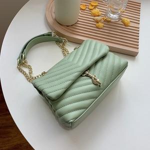 Small V-Line Design PU Leather Crossbody Bags For Women 2021 Trend Chain Shoulder Handbag Designer Branded Trending