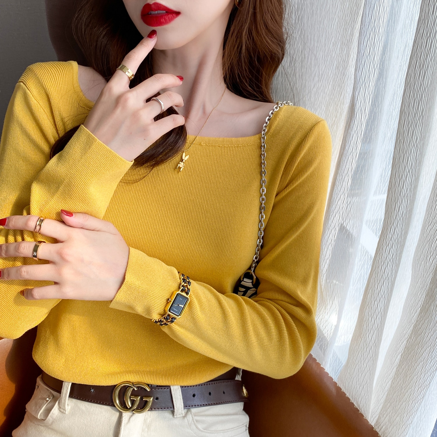 Undershirt Women's Autumn and Winter 2020 New Spring and Autumn All-Match Square Collar Sweater Inne