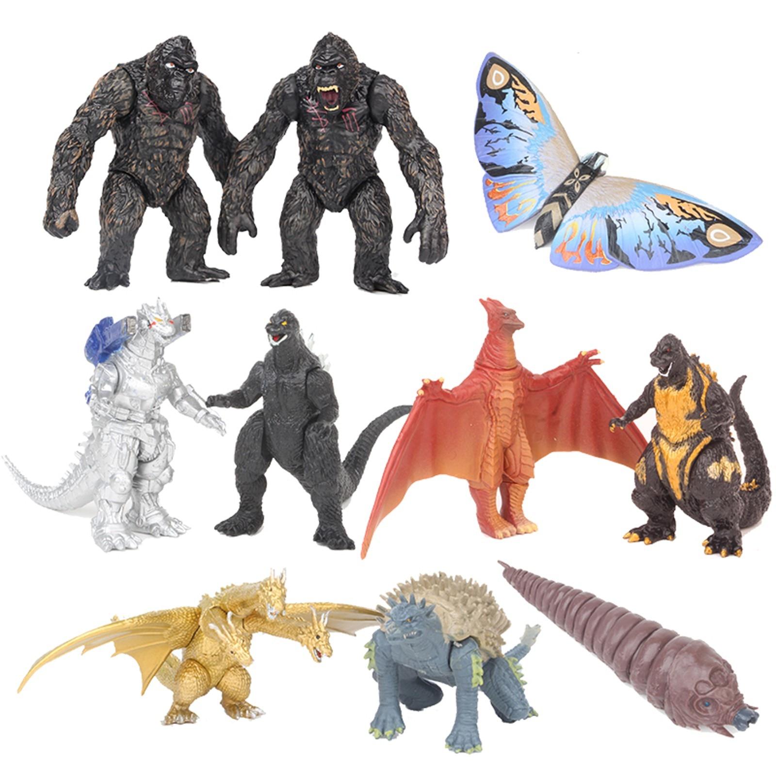 jo s toy dino rivals roarivores metriacanthosaurus dinosaur toys sound effect action figure toys boy gift movie section in stock 10pcs/ Set GodzillaVs King Kong Action Toys Figures Mechagodzilla Gigan Anguirus Action Figure Pvc Gift Toy Dinosaur Toys