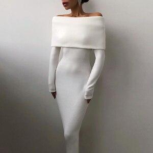 Mid Kleid Frauen Weg Schulter Lange Hülse Dünne Einfarbig Elegante Kleid Frauen Casual Herbst Baumwolle Grund Einfache