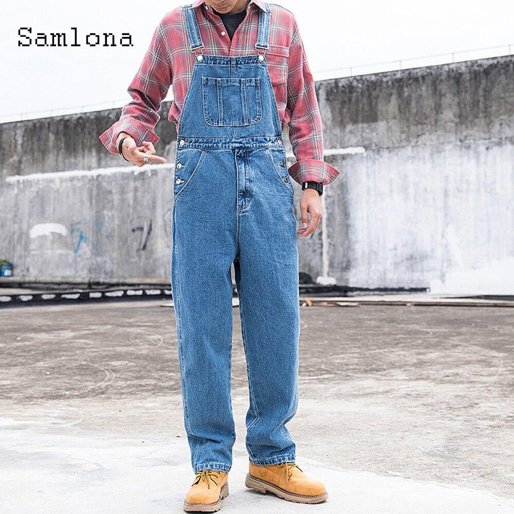 Мужской джинсовый комбинезон Samlona, синий джинсовый комбинезон, Модные свободные брюки на подтяжках в европейском и американском стиле, мужс...