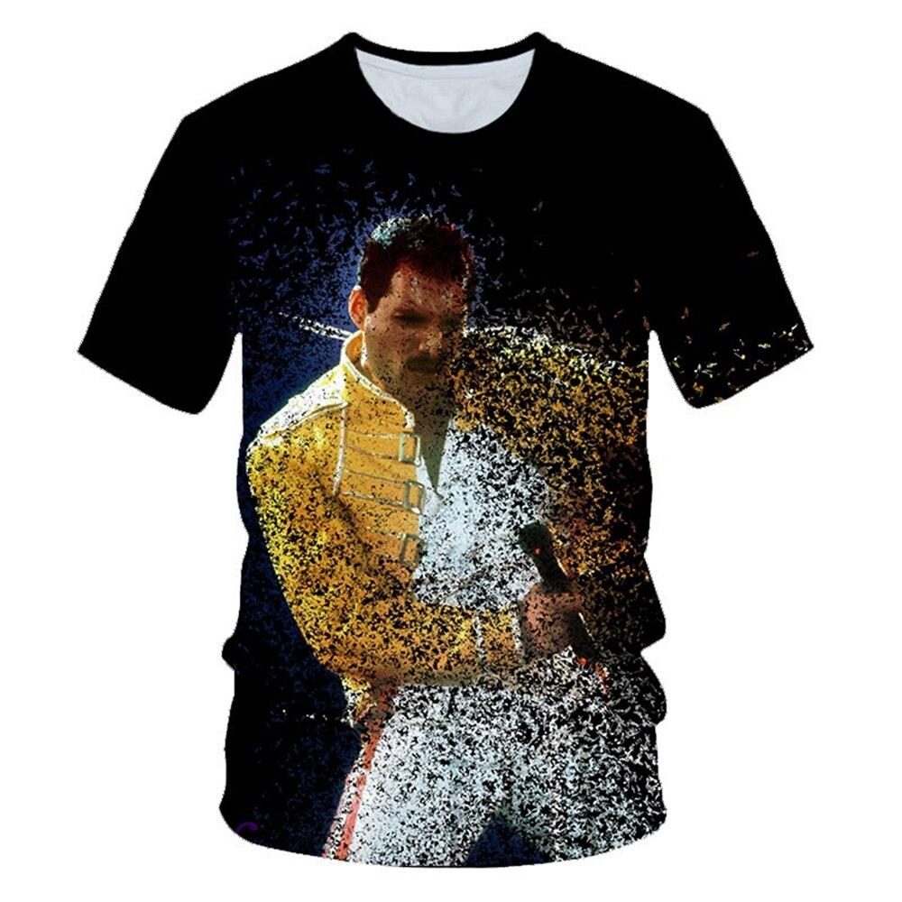 Футболка с объемным рисунком королевы, уличная одежда с рок-группой, певец, Фредди Меркурий, модные мужские и женские футболки с круглым выр...