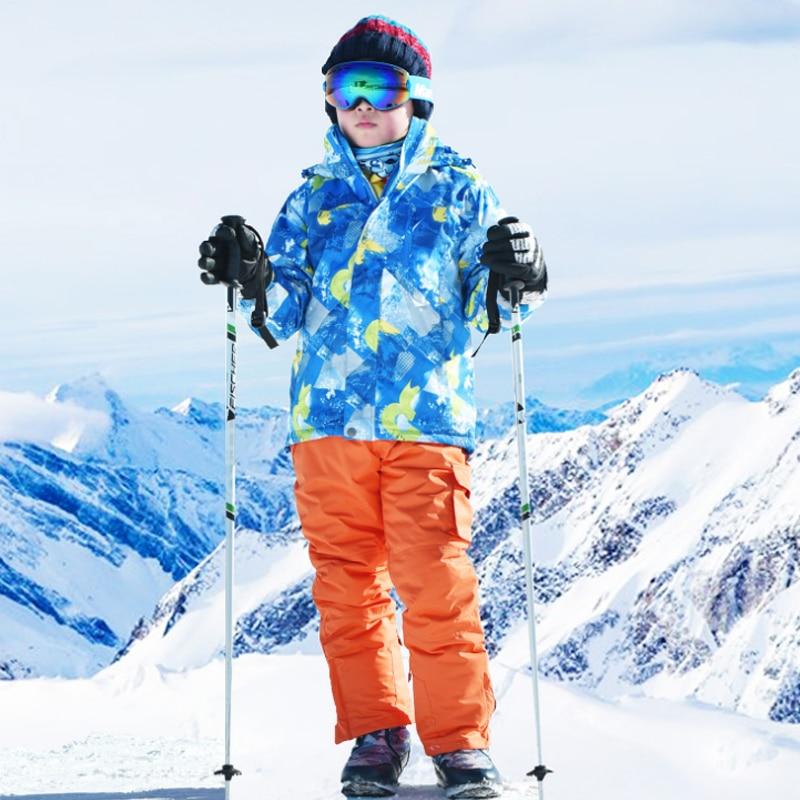 طقم تزلج للأطفال في الهواء الطلق ، لوح مفرد ومزدوج ، سميك ، مقاوم للماء ، مقاوم للرياح ، دافئ ، بدلة سروال مزلقة