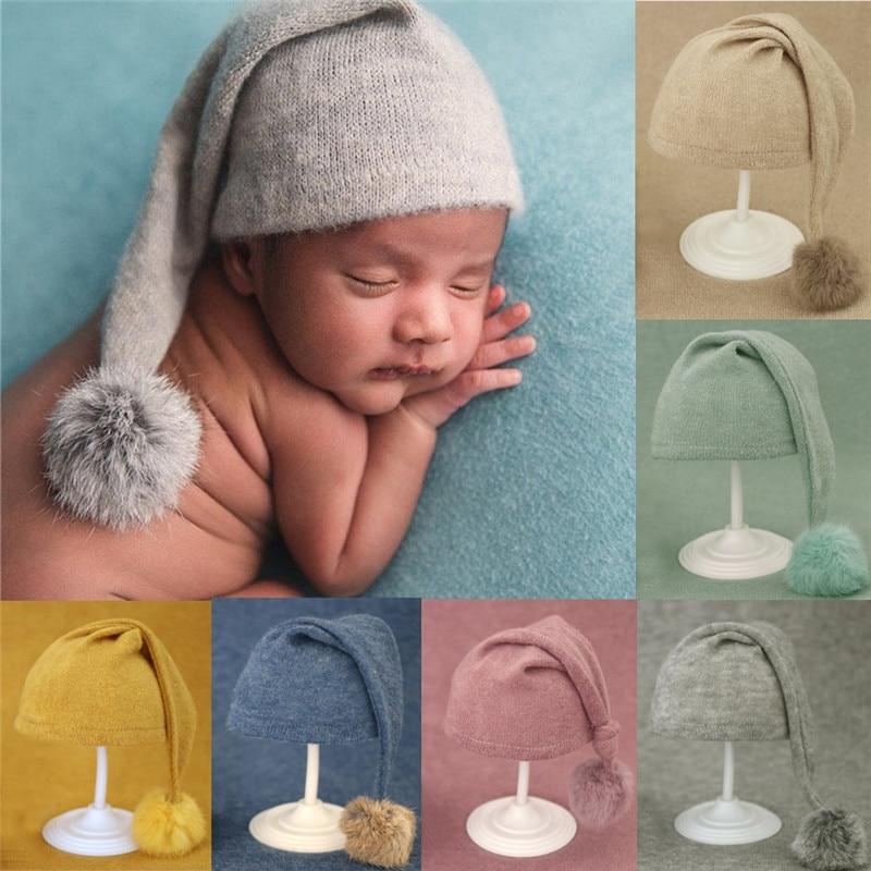newborn baby photography Newborn Photography Props Knit Fur Ball Newborn  Hat Baby Photo Studio Photography Props Cap  Beanie Baby  Hat