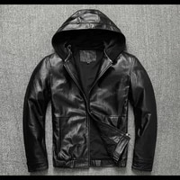 free shipping dropship sales men genuine leather hoody plus size black cowhide coat quality outdoor fashion leather jacket