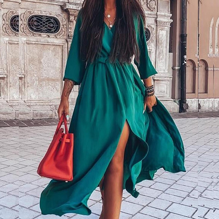 2021 spring and summer new style middle sleeve right slit long dress dress for women  plus size clothing for women