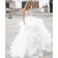 2021 new sexy v neck embroidery mesh ruffles wedding women long dress elegant ball gown slim lady princess party vestidos lf373