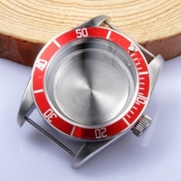 41mm red bezel sapphire Case fit Miyota8205/8215ETA 2836/2824 Mingzhu 2813