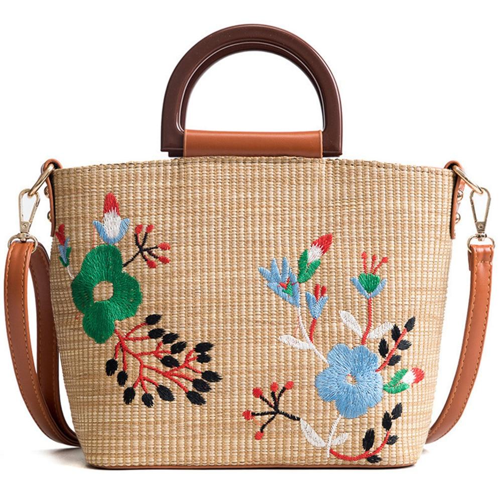 Floral Embroidery Knit Rattan Straw Bag New Fashion Summer Crossbody Messenger Bags Boho Bucket Female Beach Handbag Tote