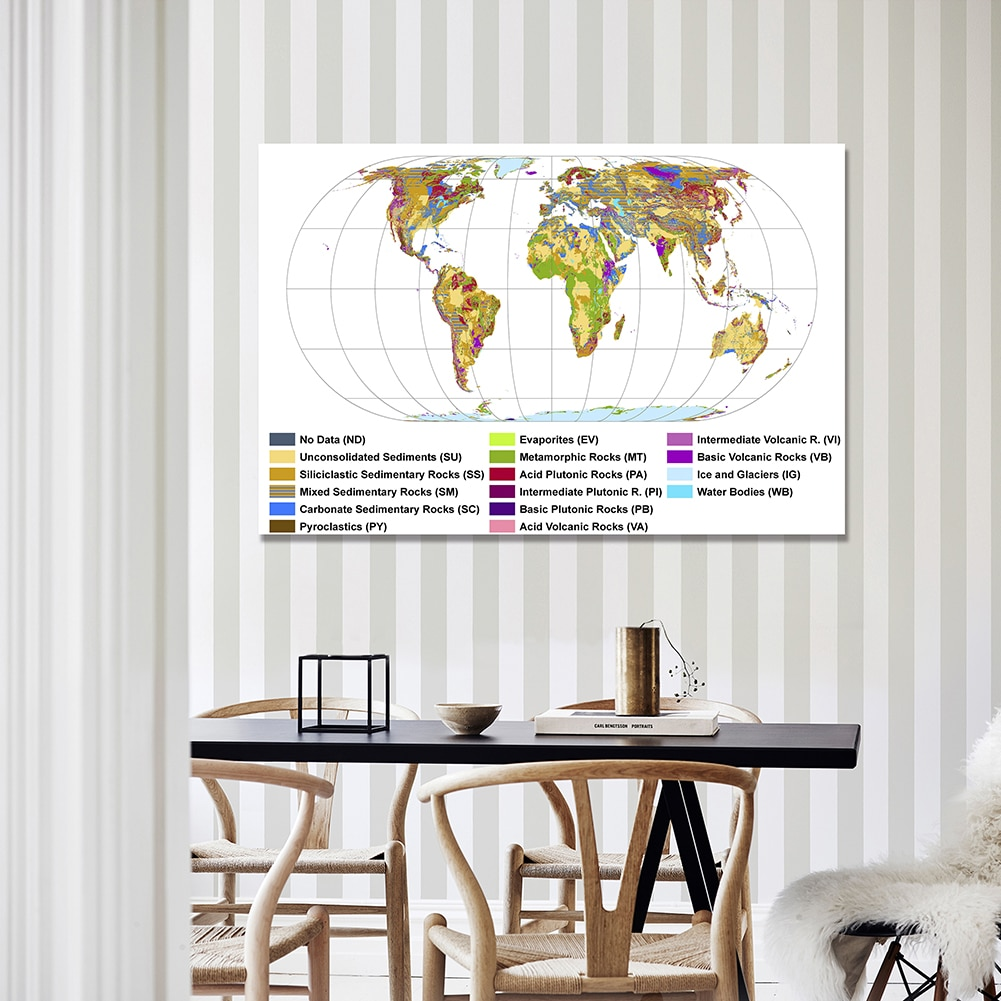 150*100 cm Geological Map Of the world Wall Decor Poster Non-woven Canvas Painting Living Room Home Decoration School Supplies