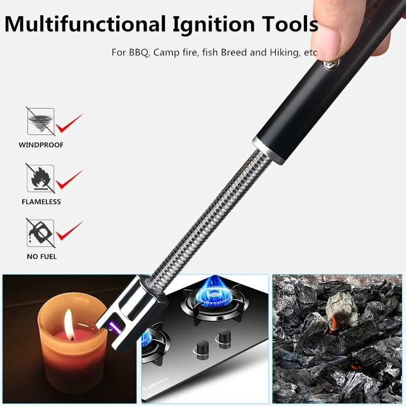 360 Rotation USB Rechargeable Cigarette Lighters Long Kitchen Electronic Windproof Plasma Electric Novelty Lighter ARC