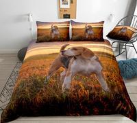 Beagle dog Bedding Dog Duvet Cover Set Kids Pet Puppy on Sunset Bedclothes King Doggy Home Textile drop ship