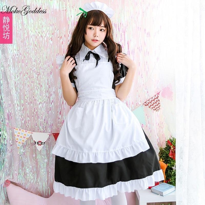 Preto e branco clássico maid traje cos saia longa bonito anime japonês maid traje café cosplay traje feminino