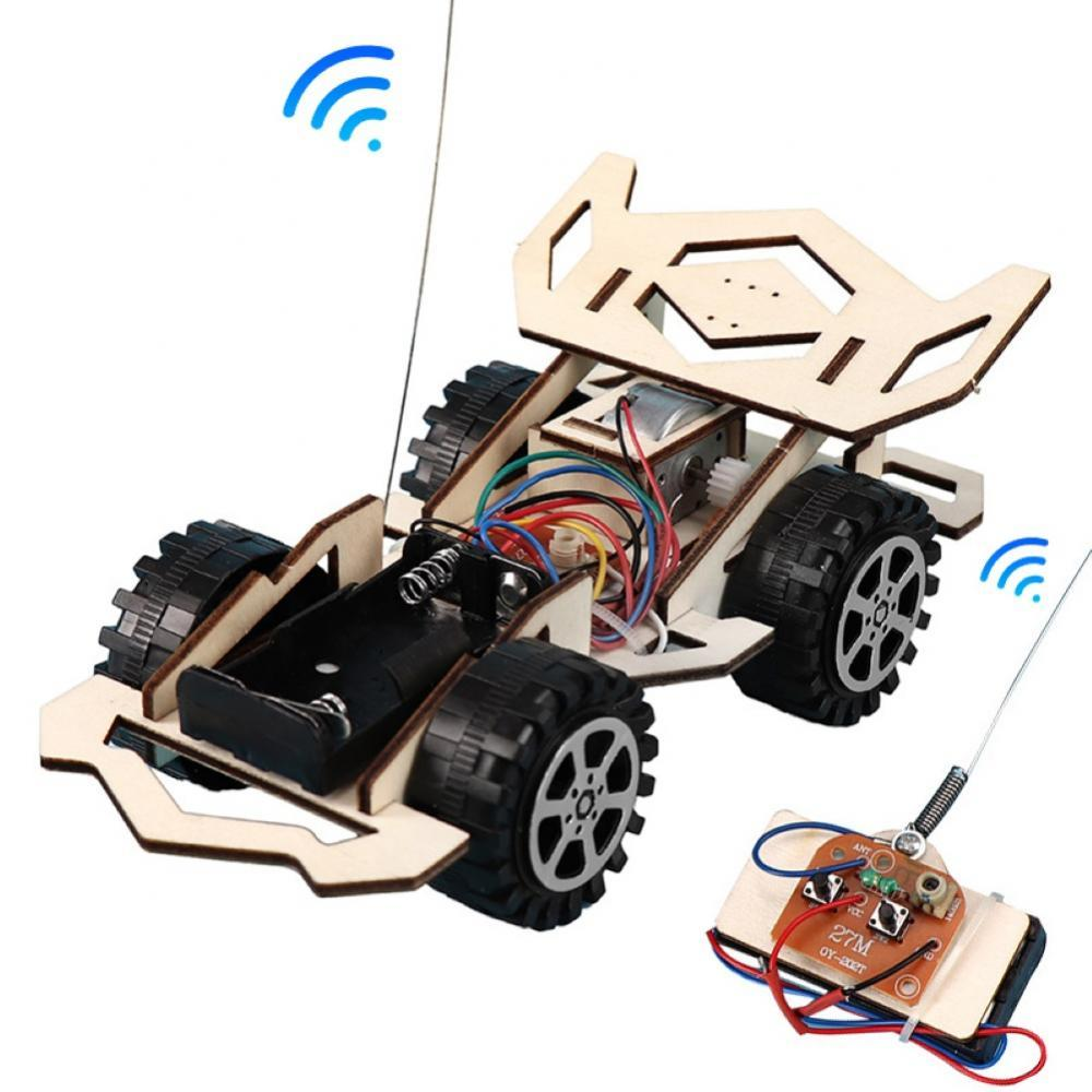 Kid Wooden DIY Assembly 4-CH Electric RC Racing Car Model Science Experiment Toy Interesting DIY Ass