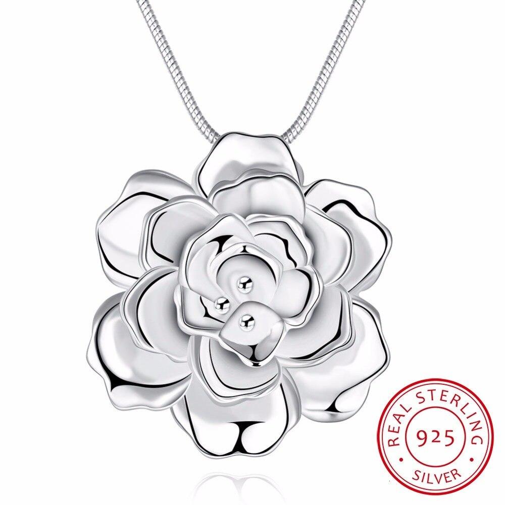 Lekani 925 Sterling Silver Lotus Colares & Pingentes Para Mulheres Flor Elegante Curto Colar de Belas Jóias de Prata Bijou