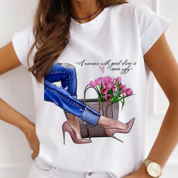Модные женские футболки с принтом на высоком каблуке, модные женские футболки с графическим рисунком, винтажные женские футболки, повседне...