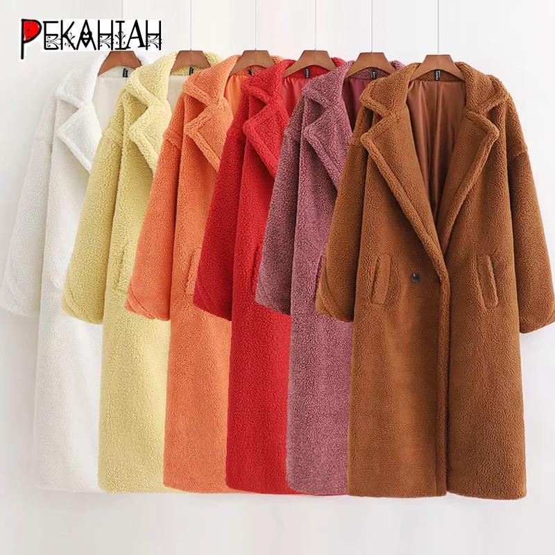 Abrigo de piel de invierno para mujer abrigo grueso cálido largo de peluche de talla grande chaqueta de piel de imitación de mujer ropa de abrigo de lana de cordero de 12 colores