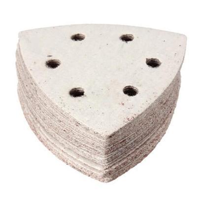 Multi-función Delta arena almohadillas de papel 93mm triángulo gancho bucle hoja 80 arena papel de lija 10 unids/lote