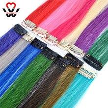 MANWEI Clip per estensioni dei capelli sintetici di colore dritto lungo Clip In capelli sintetici rosa ad alta temperatura con striscia di capelli arcobaleno
