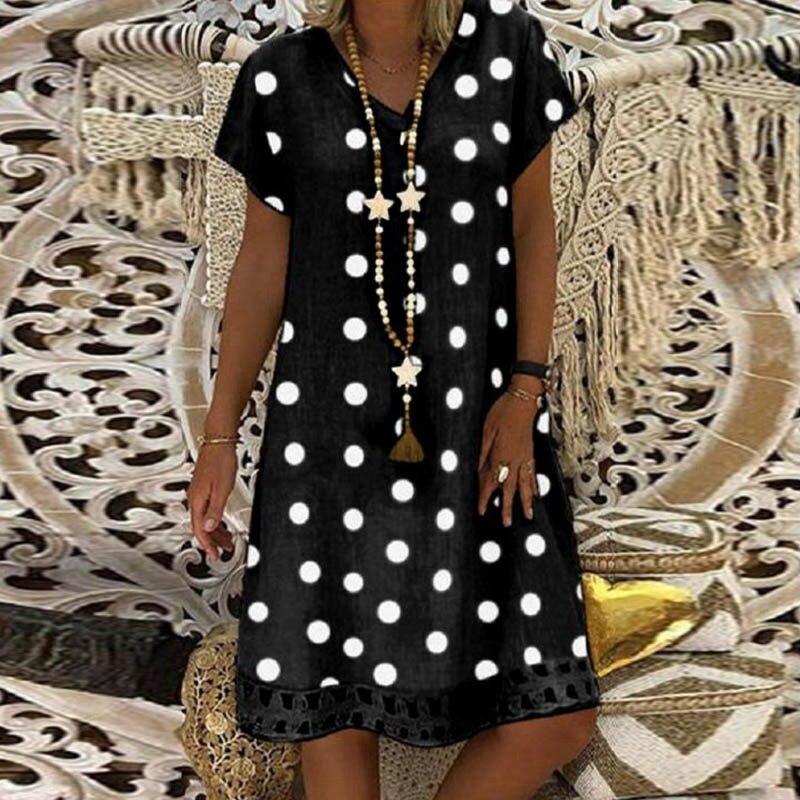 Womens Short Sleeve Summer Casual Printed Short Dress Female Dress V-neck Solid Color Natural Loose Short Dress Plus Size 5XL
