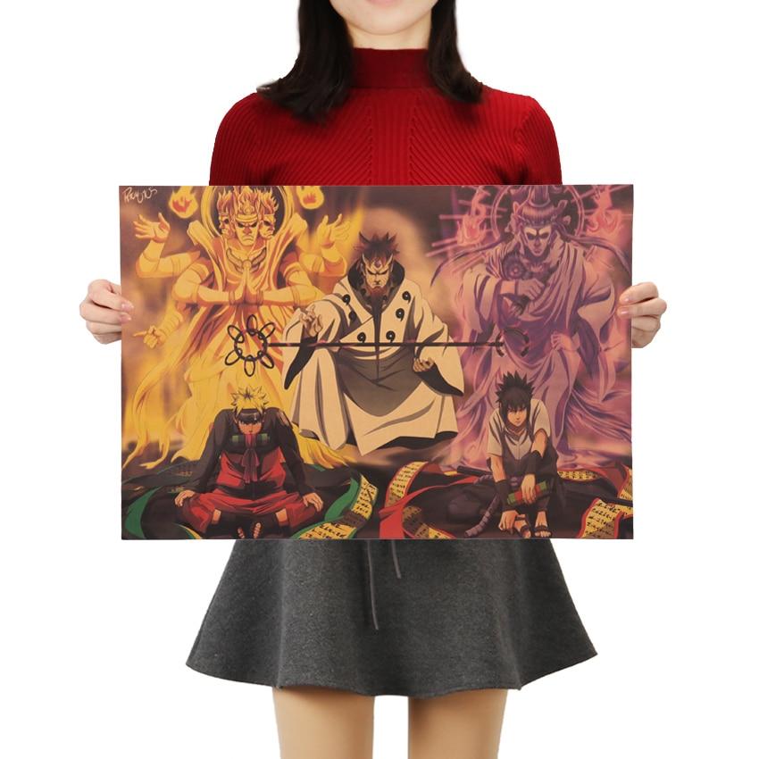 TIE LER Vintage Cartoon Kraft Paper Naruto Poster Bar Kids Room Home Decor Comics Naruto Retro Kraft Paper Painting 50.5x35cm