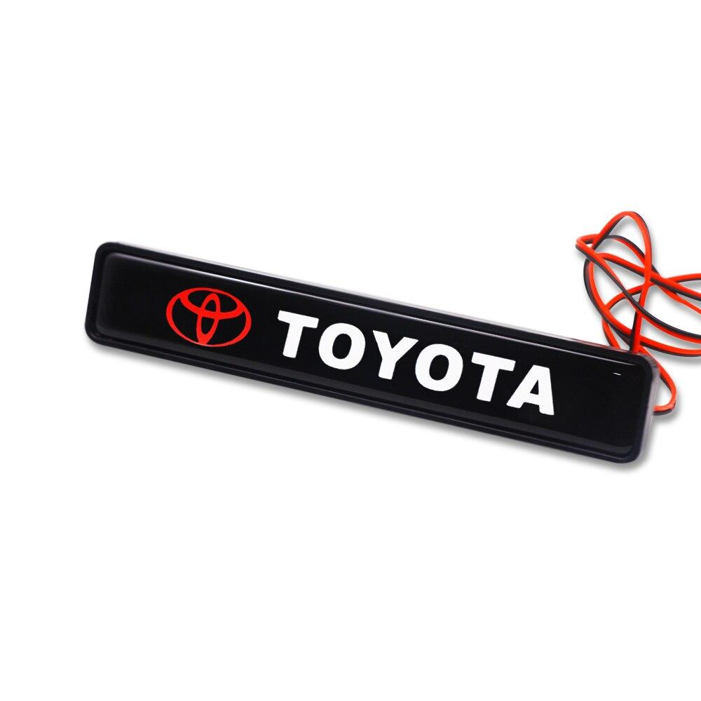 1 Uds pegatina de coche ABS capó frontal cromado parrilla emblema LED luces decorativas para Toyota corolla camry 2018 accesorios de estilo de coche
