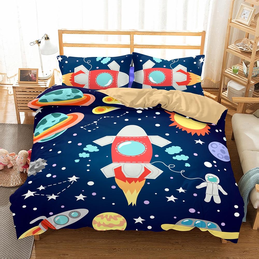Juego de ropa de cama 3D azul estrellado universo espacio exterior juego de ropa de cama con diseño de dibujos animados chico Duvet Cover Set 2/3Pc AU/US/EU Size Bedclothes