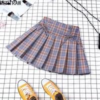 harajuku preppy style plaid skirt mini cute japanese school uniform lady jupe kawaii skirt saia faldas denim skirts plaid