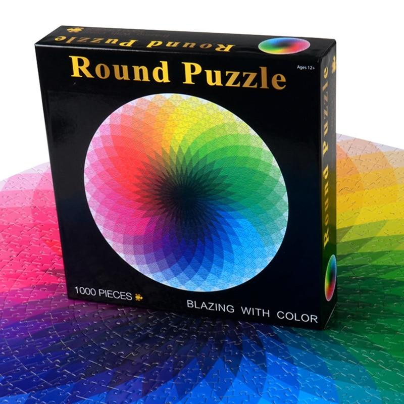 Colorido Arco Iris redondo Jigsaw Puzzle papel 1000 unids/set Geometrical Photo Puzzle adultos niños DIY educativo reducir el estrés juguete