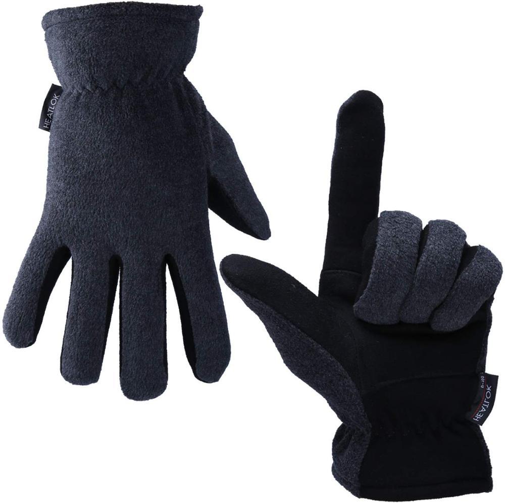 Зимние лыжные перчатки из натуральной оленьей кожи, спортивные теплые и флисовые зимние спортивные перчатки для мужчин и женщин