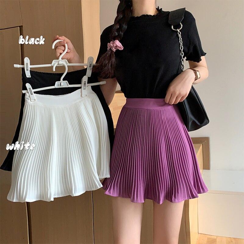 Короткая юбка в складку Женская мини-юбка с эластичным поясом, сексуальная летняя теннисная мини-юбка