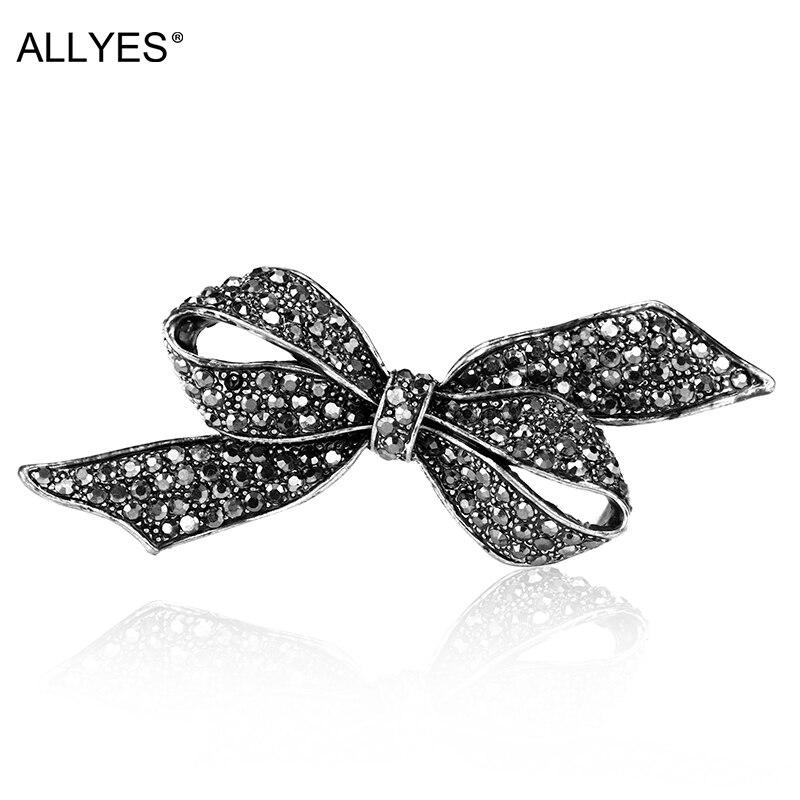 ALLYES elegantes broches de corbata de cristal negro Vintage con lazo grande para mujer, accesorios para mujer, bufanda con lazo, Pin, joyería de fiesta
